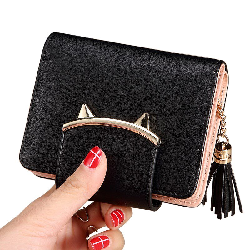 Lady Coin Purse Cute Cat Animal Mini Wallet Women Clutch Money Bags Female Purses Cards ID Holder Tassel Zipper Hasp Wallets Bag