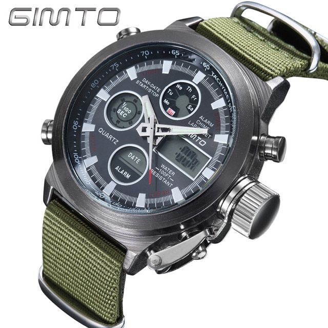 2018 GIMTO Top Brand Men Watch Shock Black Dial Digital Army Male Clock Waterproof Creative LED Wristwatch Relogio Masculino