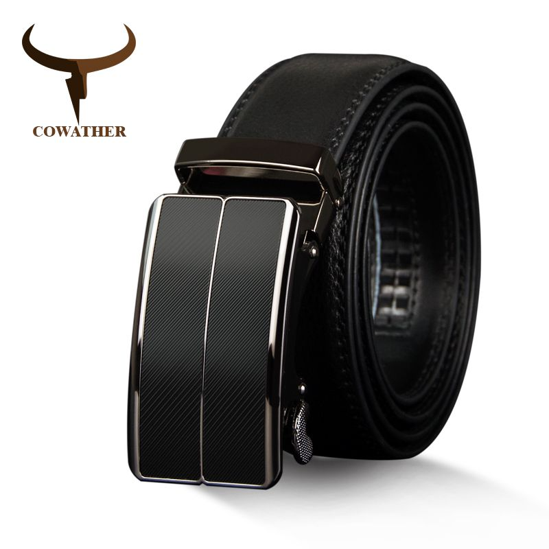 COWATHER New <font><b>Arrival</b></font> cow genuine leather men's belt cowhide strap for male automatic buckle belts for men alloy buckle belts