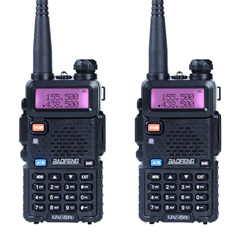 2 pcs/lot Baofeng UV-5R Talkie Walkie Ham Radio UHF et VHF 136-174 MHz et 400-520 MHz 128 Dual Band Two Way Radio 5 W HF Émetteur-Récepteur