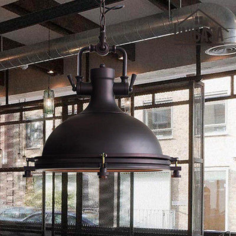 Vintage lampe industrielle lumières en fer forgé noir sous-sol éclairage Bar hôtel cuisine lumière LED Antique pendentif