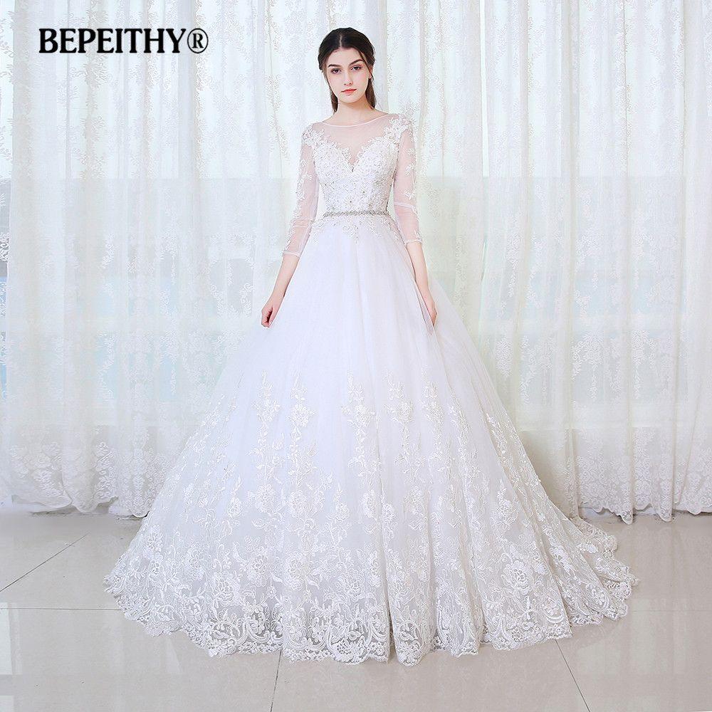 BEPEITHY Ballkleid Prinzessin Hochzeit Kleid Volle Ärmel Mit Gürtel Vestido De Novia 2019 Spitze Vintage Brautkleider Casamento