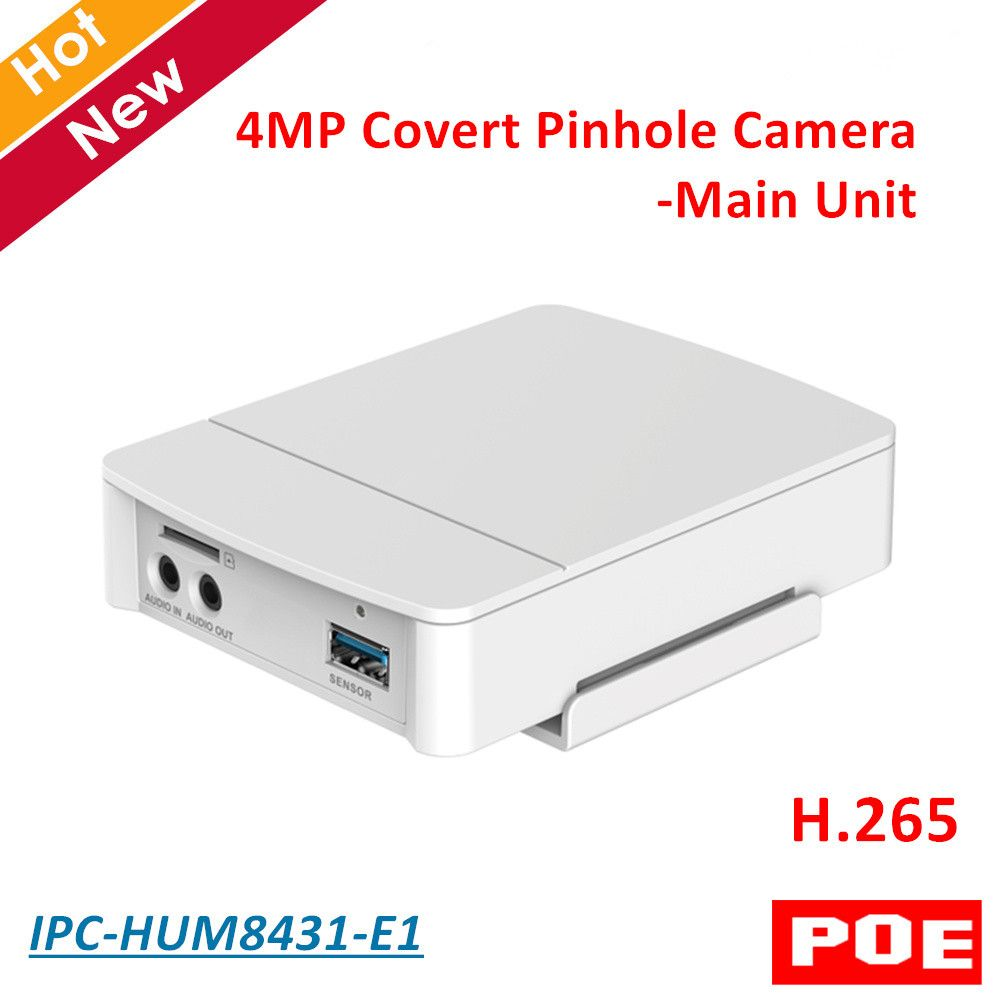 4MP Poe DH Covert Pinhole Camera Main Unit IPC-HUM8431-E1 H.265 Support Smart detection and SD Card Metal case