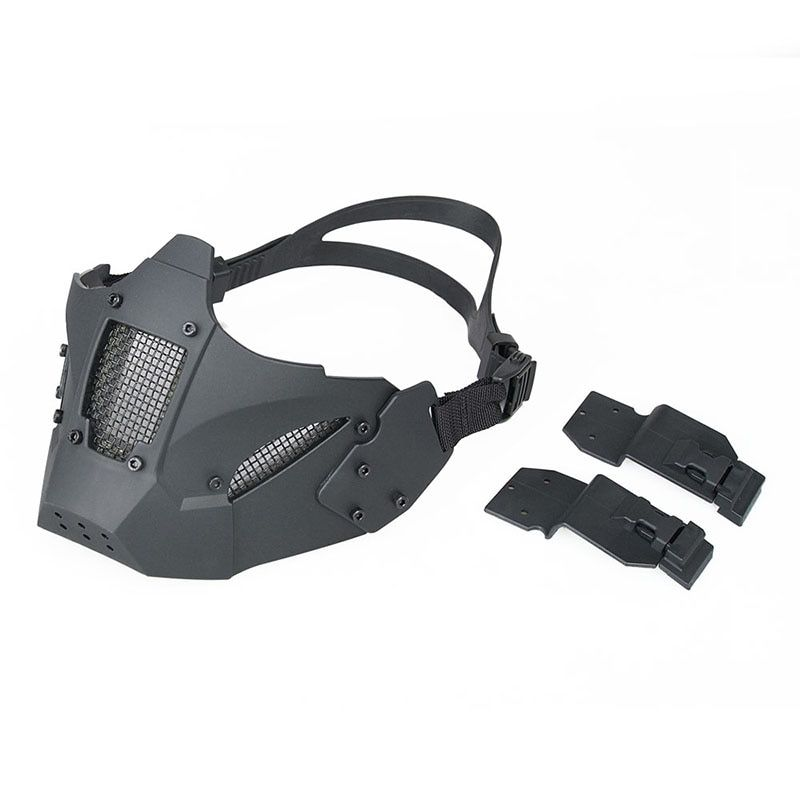 Черные Цвет Тактический Airsoft Для мужчин половина Уход за кожей лица маска связавшись шлем для наружной Охота Пейнтбол hs9-0078