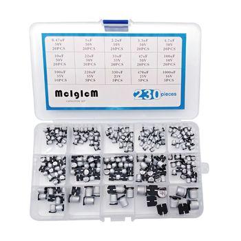 MCIGICM 15 valeur 230 pcs SMD Condensateurs Électrolytiques En Aluminium Assortiment Box Kit
