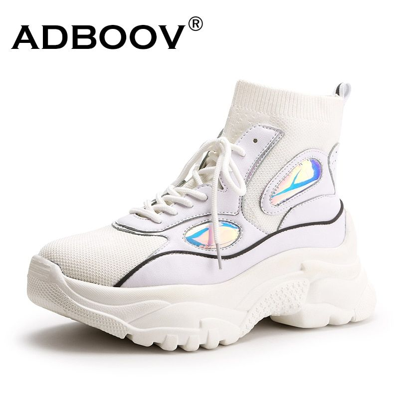 ADBOOV 2018 Newest Trendy Shoes Woman High Top Sneakers Women Knit Platform Shoes Ladies Ankle Boots Chunky Glitter Sock Shoes
