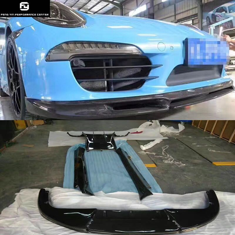 911 Carbon fiber front lip rear diffuser side skirts rear spoiler for Porsche 911 Carrera 991 GT3 Vorsteiner style Car body kit