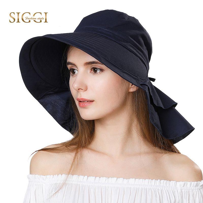 FANCET femmes été plage soleil chapeaux UPF50 + UV coton queue de cheval pliable chaîne menton cordon large bord voyage soleil chapeaux casquette fille 69085