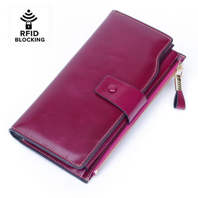 Women's RFID Blocking Wax Genuine Leather Clutch Wallet Card Holder Organizer Ladies Purse Phone Female Big Clutch New
