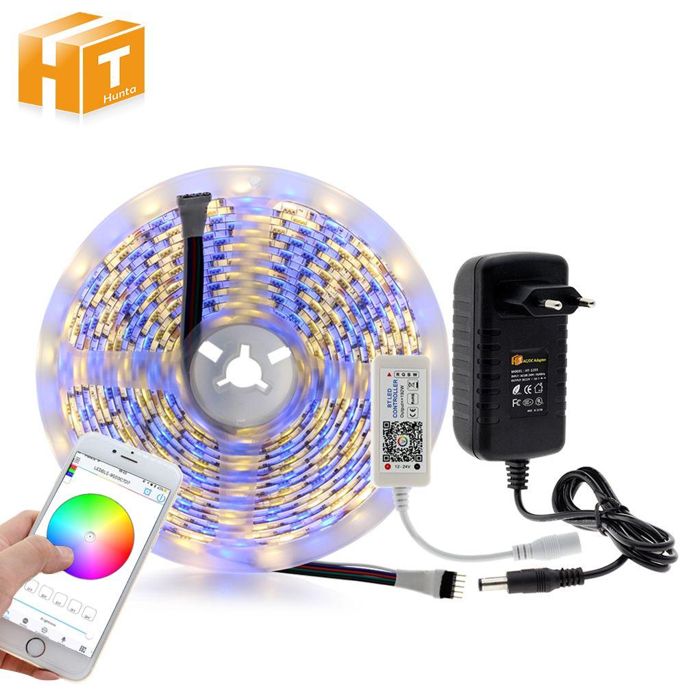5050 LED Strip set DC 12V 60LEDs/m with Flexible RGBW/RGBWW LED Strip+Bluetooth Controller+3A power adapter 5m/lot