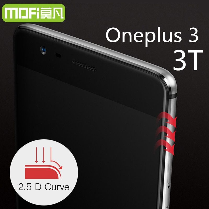 Oneplus 3 trempé verre MOFi d'origine oneplus 3 T écran protecteur oneplus 3 t verre pleine couverture blanc noir accessoires 5.5 pouce