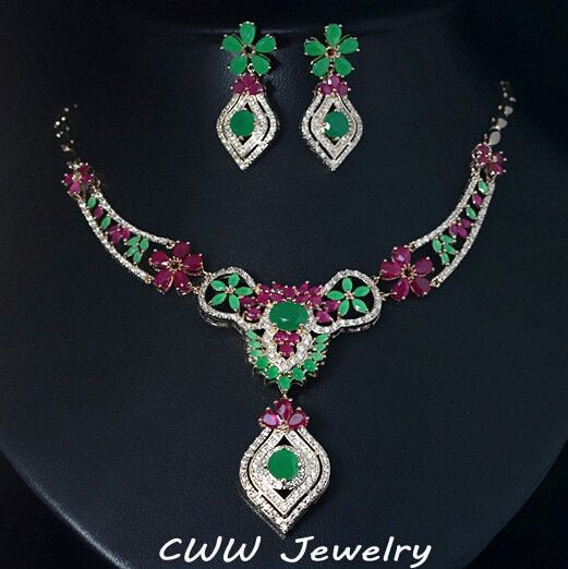 CWWZircons Light Yellow Gold Color Red Green CZ Crystal Earring And Necklace Sets For Women Party Jewelry Accessories T188