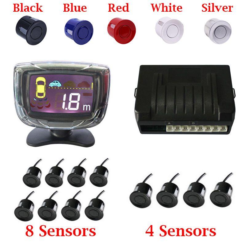 Auto Parktronic 4 Car Parking Sensor 8 Radar Detector Reverse Backup rear Monitor System LED Display parking Assistance 22mm