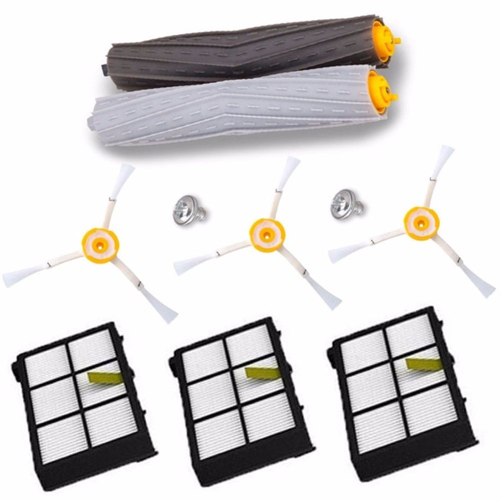 1 set Tangle-Free Debris Extractor Brush +3Hepa filter + 3 side brush for iRobot Roomba 800 900 Series 870 880 980