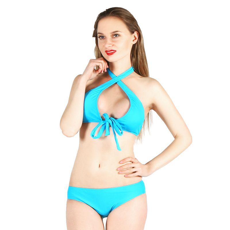 Bikini 2018 Sexy Badeanzug Frauen Push Up Bikini Set Halter verband Bademode bikini low taille tanga bikini badeanzug strand tragen