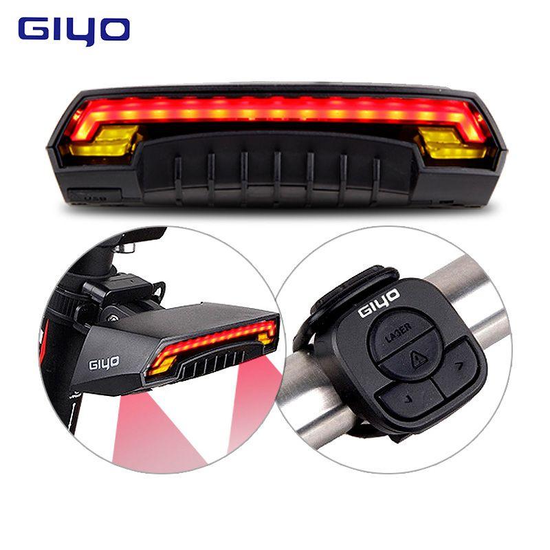GIYO Laser Vélo Feu Arrière USB Rechargeable LED Vélo Arrière Lumière Lampe 85 Lumen Montage Rouge Lanterne Pour la Lumière De Vélos Accessoires