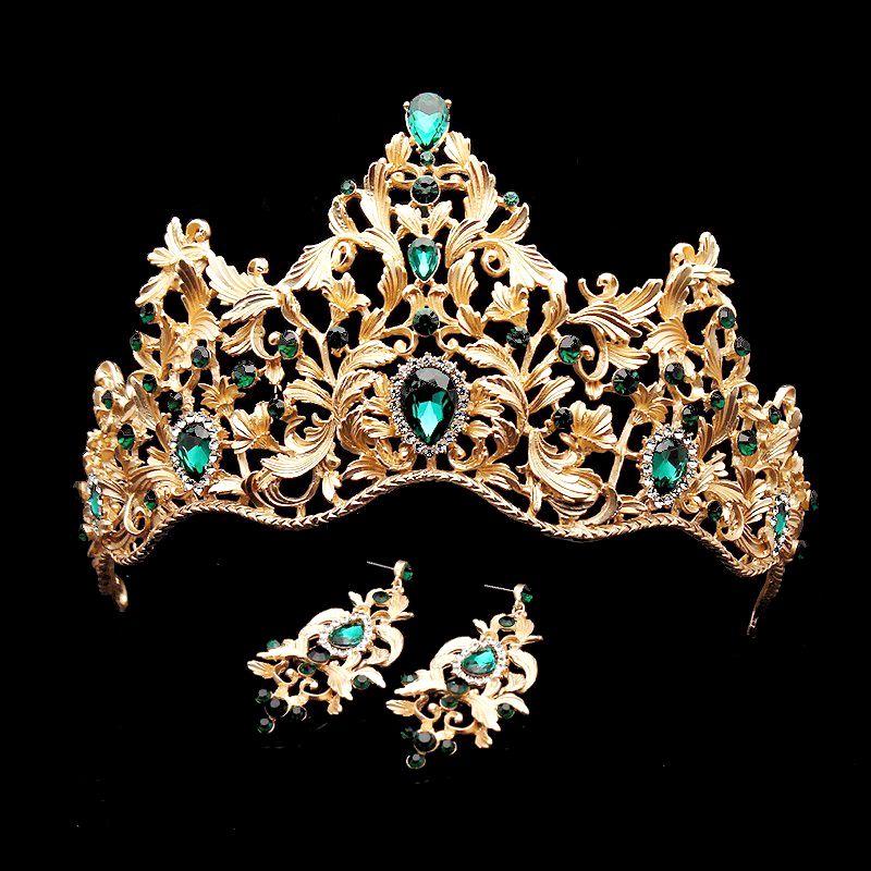 Baroque Vintage vert strass princesse diadème et couronne cristal mariée cheveux accessoires reine mariage diadème pour mariée femmes