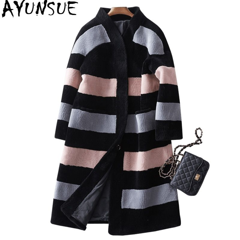 AYUNSUE 2018 Genuine Sheep Shearing Fur Coat Female Winter Jacket Women Long Warm Fur Coats Natural Wool Jackets Overcoat WYQ939