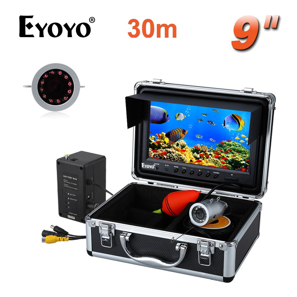 EYOYO HD 1000TVL 30M Infrared <font><b>Underwater</b></font> Camera for Fishing 9 inch Fish Finder Video Recorder DVR 8GB SD CARD
