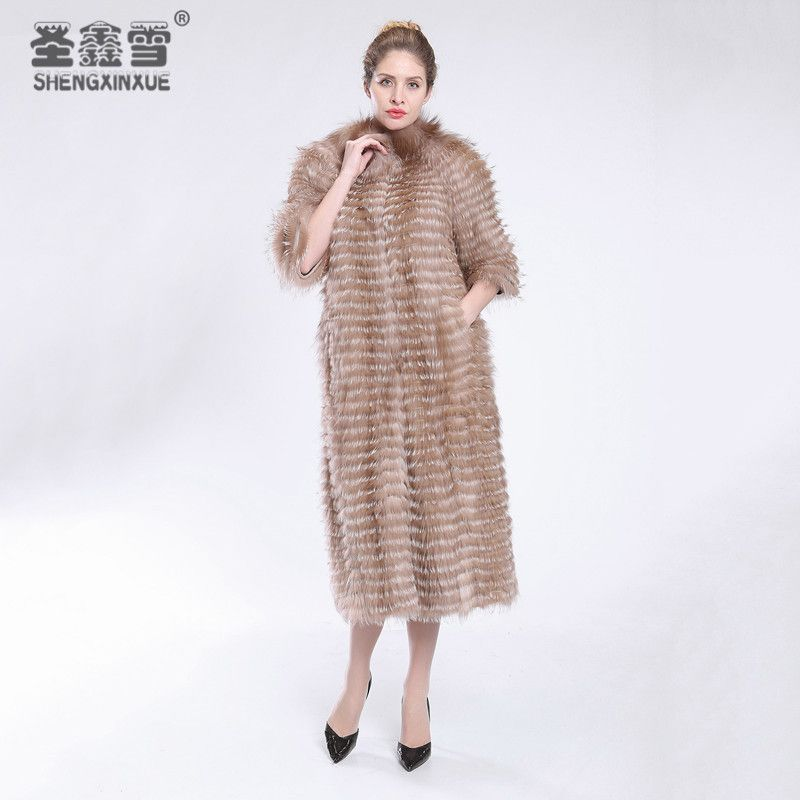 2017 Autumn Winter Luxury X-Long Style Real Red fox white fox Fox Fur Coat Natural Color Fur Collar Stripped Syle Outerwear
