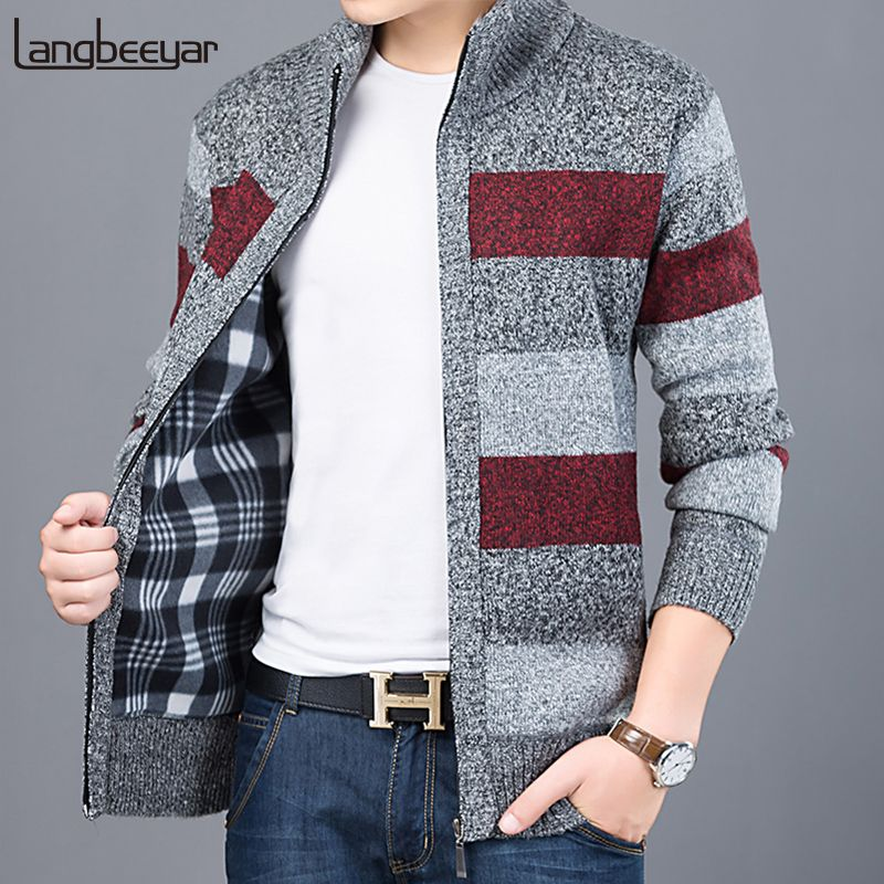 2018 Thick New Fashion Brand Sweater For Mens Cardigan Slim Fit Jumpers Knitwear Warm Autumn Korean Style Casual Clothing Male