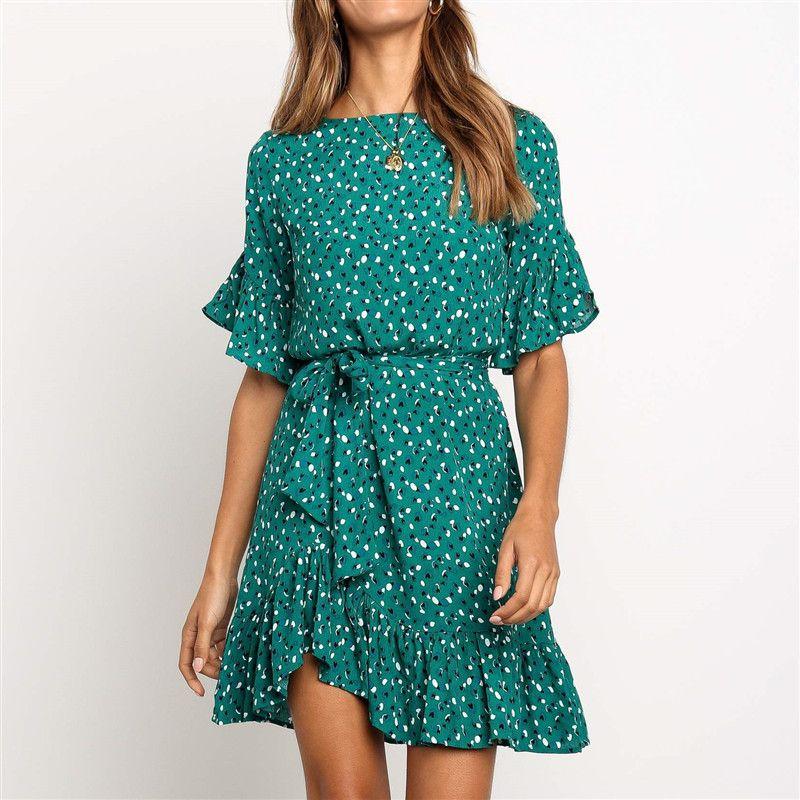 Volants robe imprimée florale femmes été à manches courtes col rond ceintures robe dames Mini Boho plage robes de soleil