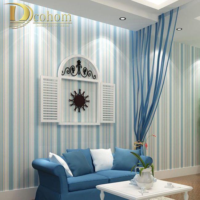 Modern fashion Horizontal White Blue Striped Wallpaper Roll Vertical Kids Child For Wall Living room Bedroom R107