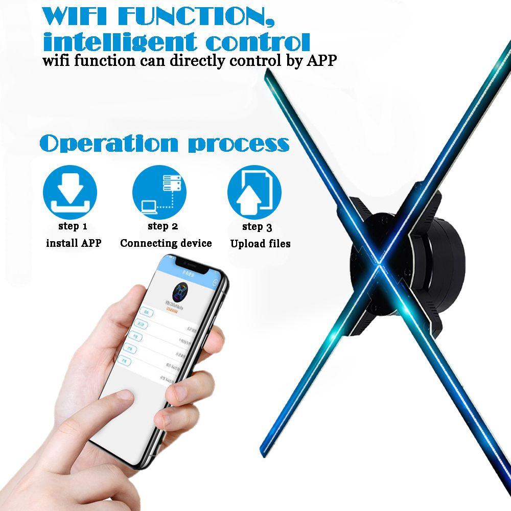 50 CM 4 fan hologramm fan licht mit wifi steuer 3D Hologramm Werbung Display LED Fan Holographische Bildgebung für urlaub shop