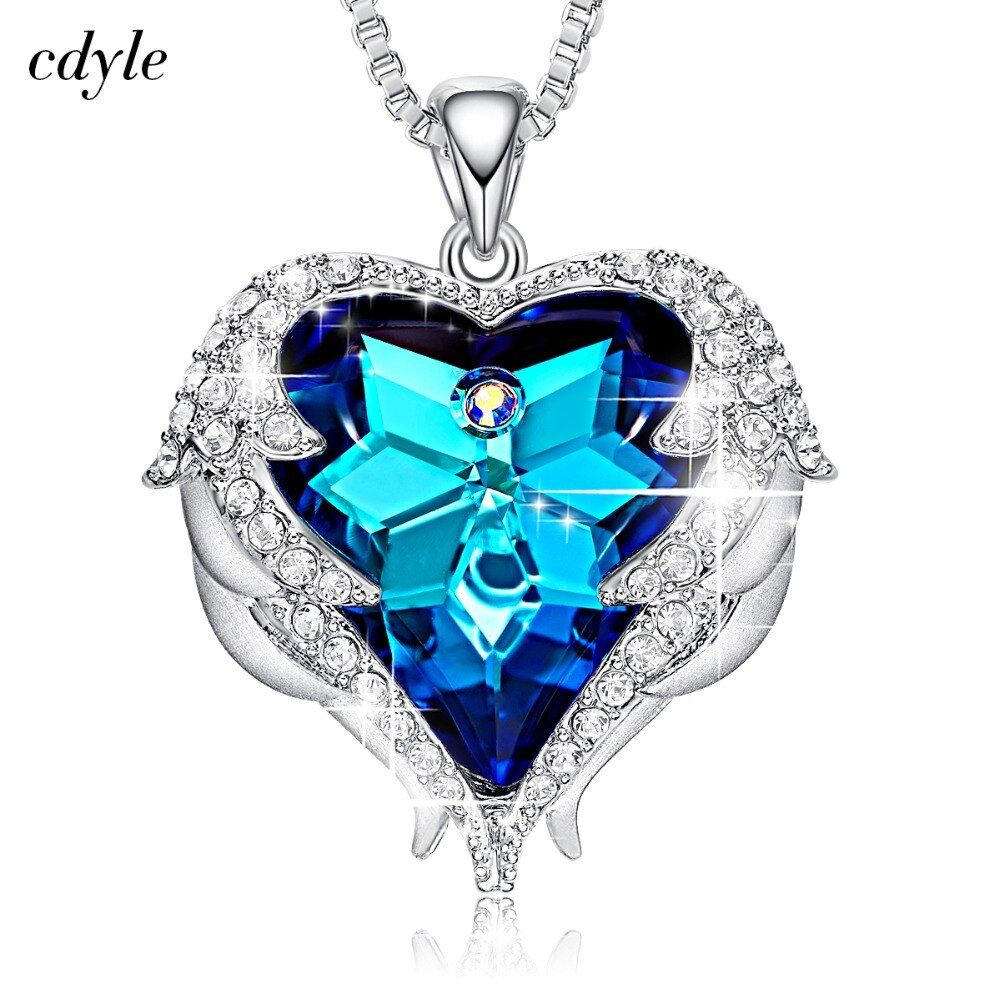 Cdyle Crystals from Swarovski Necklaces Zircon Fashion Jewelry for Women Pendant 2018 Blue Rhinestone Luxury Set Heart Statement