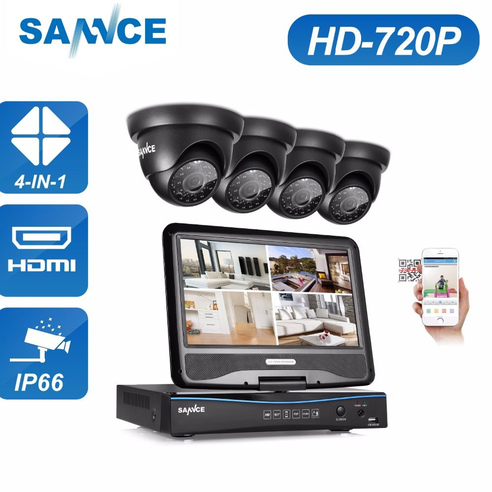 SANNCE 1080N HDMI 4CH DVR 1200TVL 720P HD Outdoor CCTV Security Camera System 4 Channel Surveillance Kit With 10