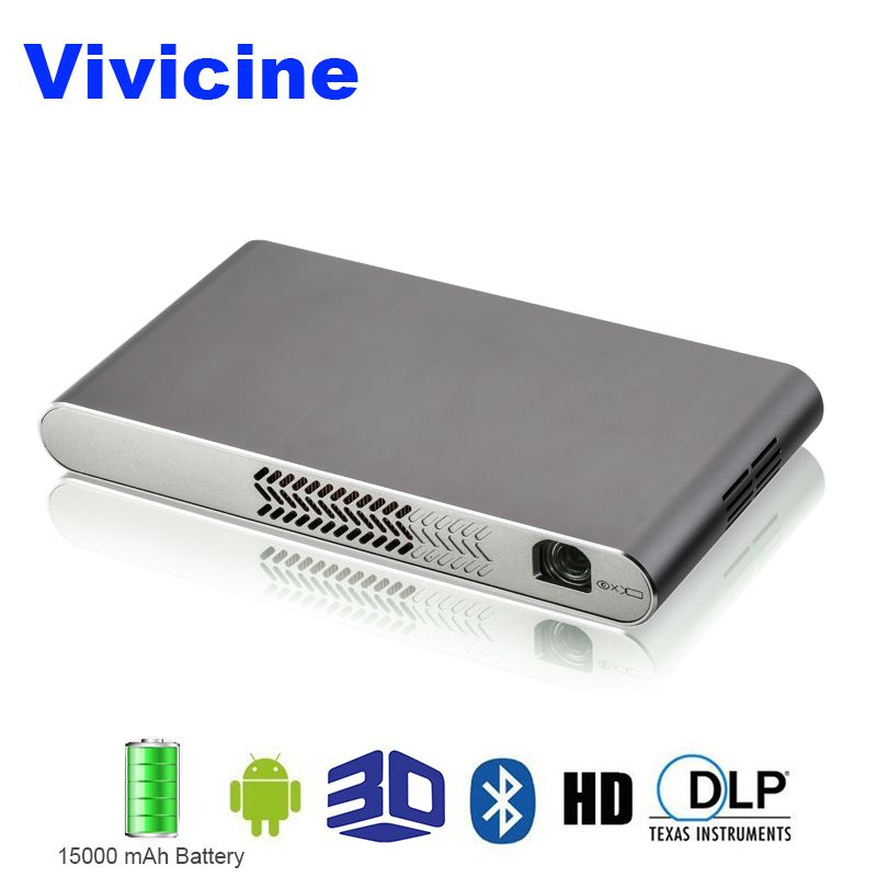 Vivicine Mini Wifi 3D Projector,Built-in 15000 mAh battery HDMI USB PC Full HD Home Video Projectors 1080p Android Beamer