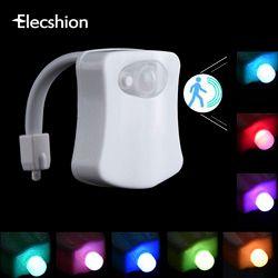 Elecshion Led Toilet Night Light Auto Human Motion Sensor PIR Bathroom Battery 8 Colors RGB Bowl Projector 3d Novelty Lamp