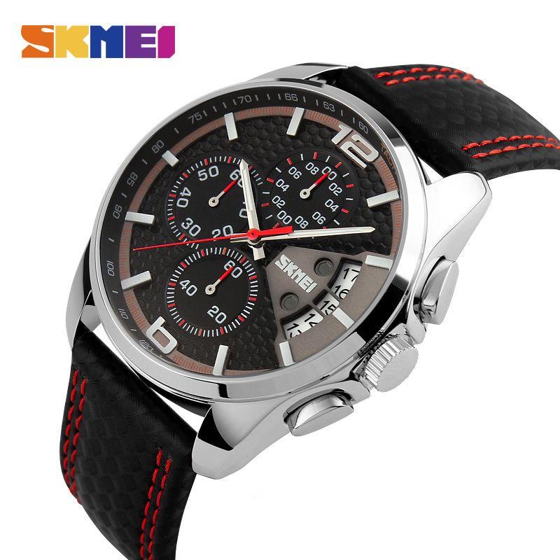 SKMEI mode Sport hommes montres Top marque de luxe bracelet en cuir 5Bar étanche montres à Quartz Relogio Masculino 9106