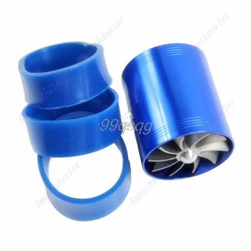 Hot Sale Blue Double Supercharger Fuel Gas Saver Fan Universal Turbine Turb Air Intake Drop shipping