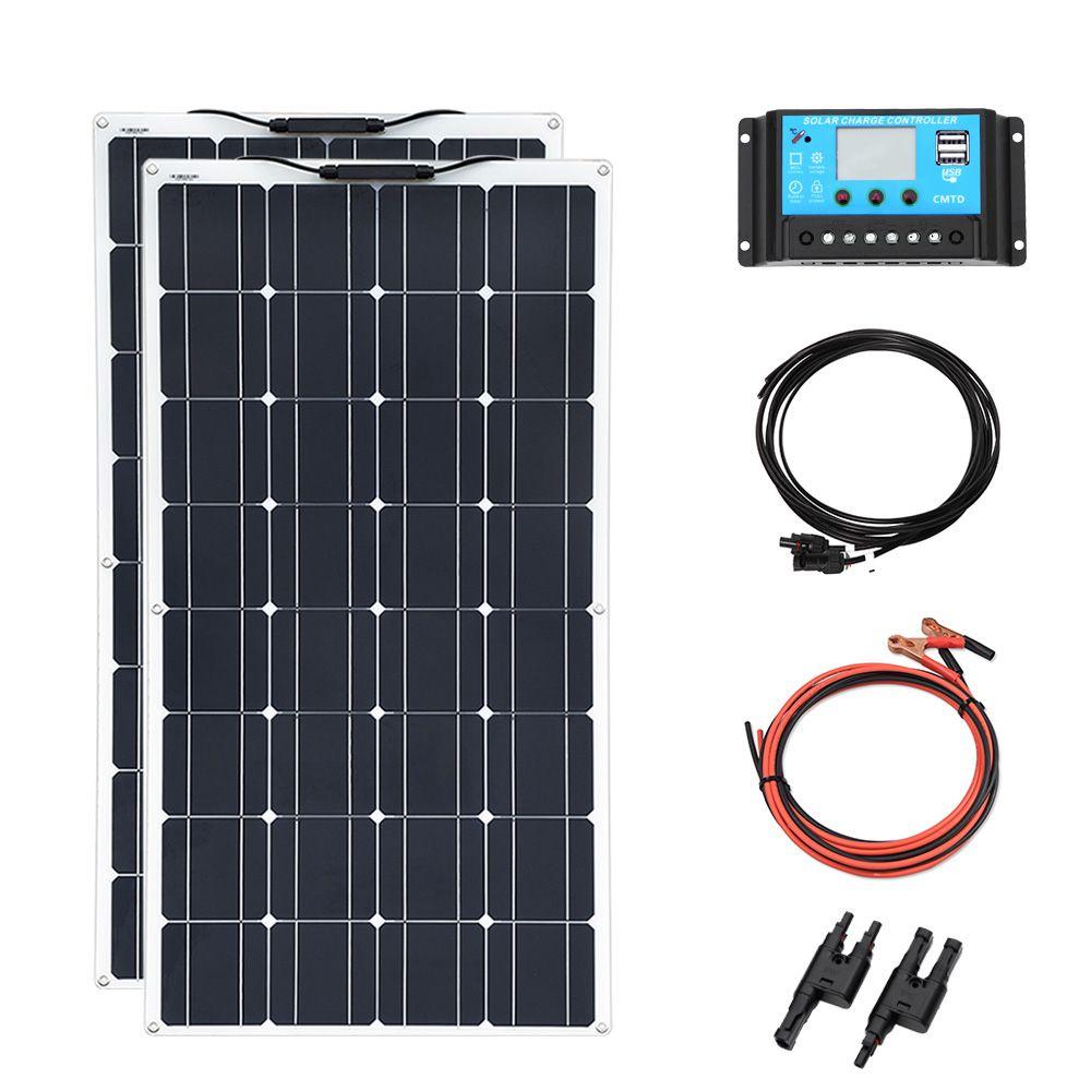 Flexible solar panel 2 stücke 100 W DIY 200 w 12 v oder 24 v batterie für home mit USB 20A controller kabel MC4 adapter draht china