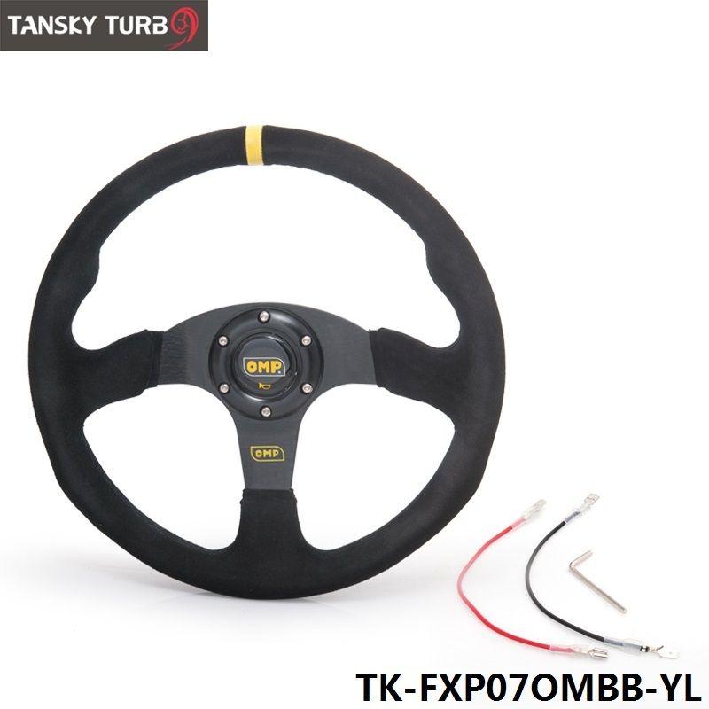 Tanksy - 14inch 350mm OM Racing Steering Wheel Auto Steering Wheel Suede leather Steering Wheel TK-FXP07OMBB-YL