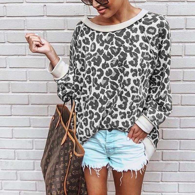 2019 chaud mode femmes sweat col rond imprimé léopard jersey chandail lâche chemise 5 couleurs