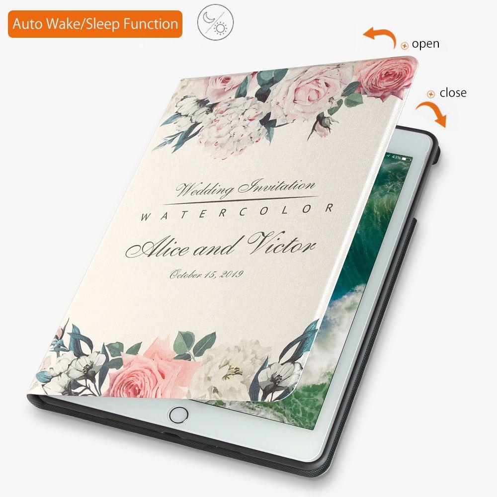 Cas Pour Nouveau 2017 2018 iPad 9.7 pouce Air 2 ZVRUA illustrations Souple en silicone avec Auto Réveil/Sommeil fonction Stand Smart Cover