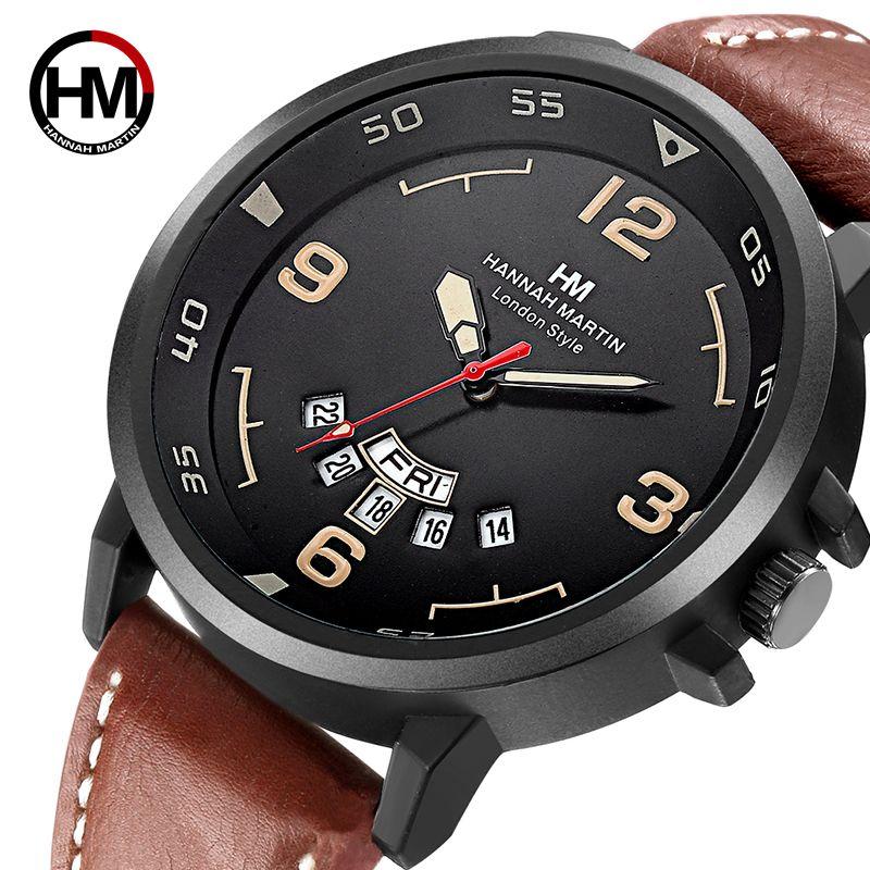 Hanna Martin 2018 Super Luxus HM Herrenuhr Hohe Qualität Gürtel HM-1602
