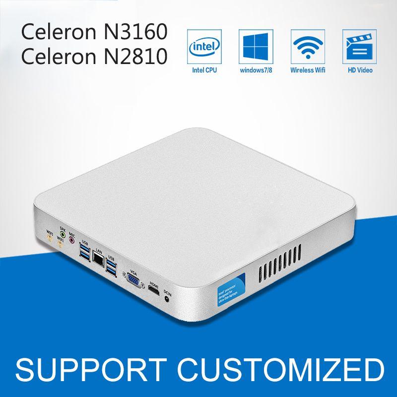 Intel Celeron Процессор Мини-ПК n3160 quad-ядер мини настольный компьютер с безвентиляторный Оконные рамы 10 DDR3 8 ГБ ОЗУ офисные компьютер