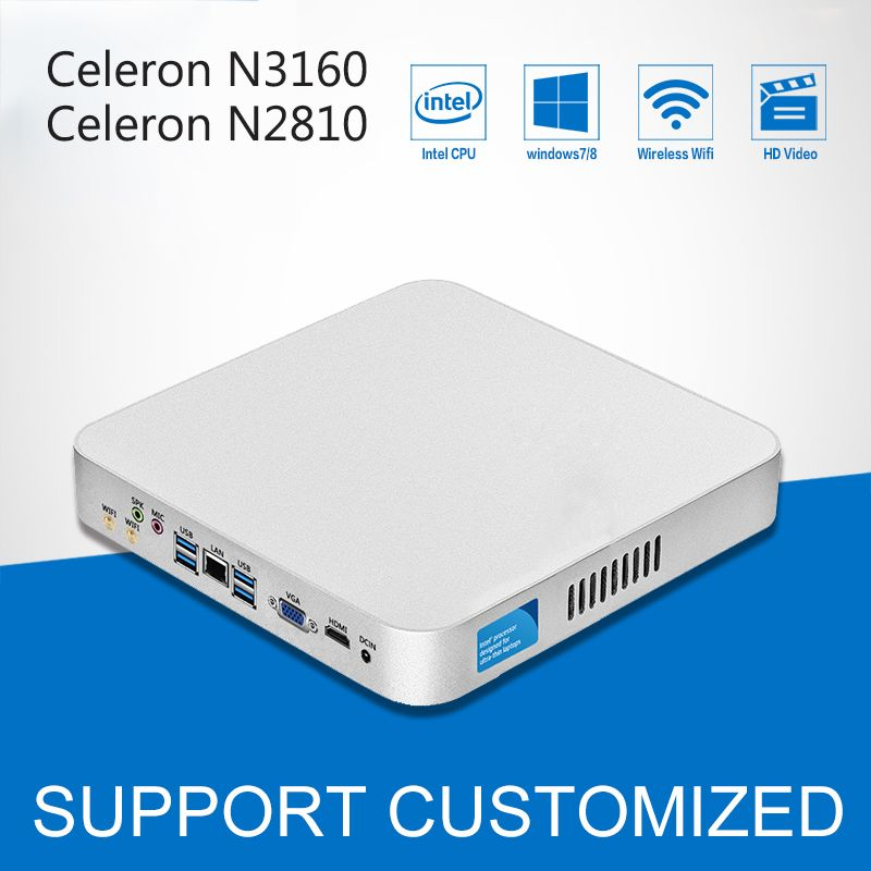 Intel Celeron CPU Mini PC Celeron N3160 Quad-Cores Mini Desktop Computer With Fanless Windows 10 DDR3 8GB Ram Office Computer