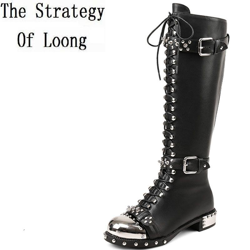 2017 New Cow Leather Short Plush Rviet Winter Zip Flat Boots Women Spring Autumn Metal <font><b>Decoration</b></font> Buckle Single Boots ZY171025