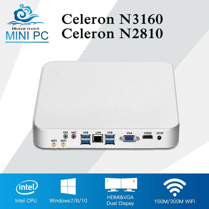 Intel Процессор Мини-ПК Безвентиляторный Компьютер мини Оконные рамы 10 Celeron n3160 Quad сердечники HTPC HD Графика 400 Barebone Настольный компьютер