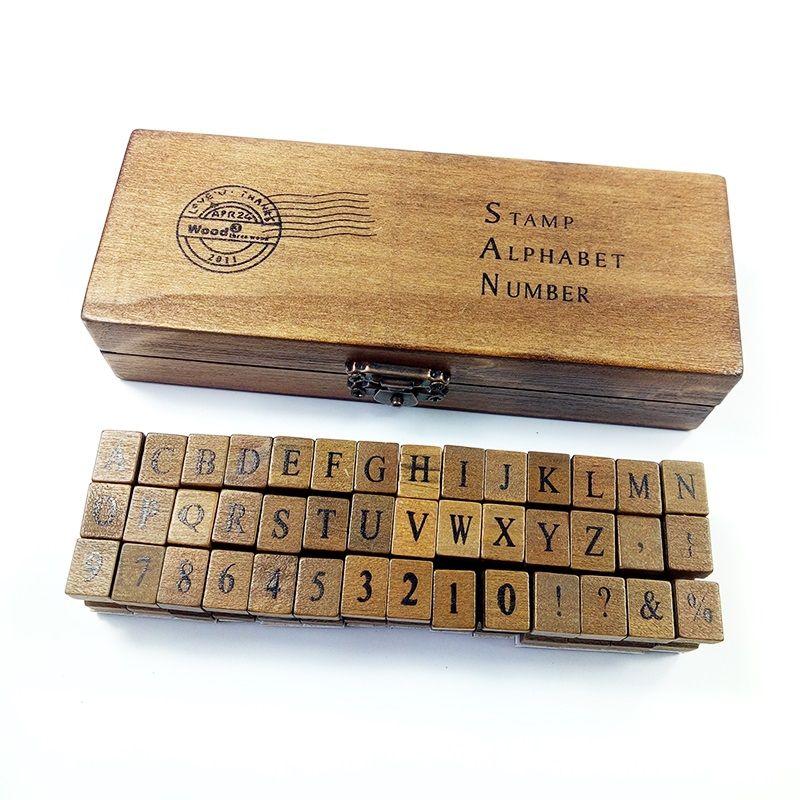 42 pièces/ensemble Design romantique majuscules lettres et chiffres rétro Vintage en bois artisanat boîte Alphabet timbre en caoutchouc timbre ensemble