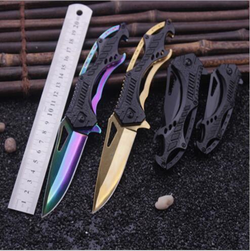 SHNAPIGN Knife Outdoor Folding Knife Black Titanium Tactical Pocket Knife Rescue survival knife aluminum handle Camping Huntin