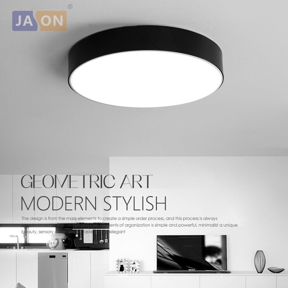 LED Modern Acryl de la Aleación Negro Blanco Redondo LED Lámpara. Luz LED. Luces de Techo Techo Light. LED. Lámpara de techo Para El Dormitorio Vestíbulo