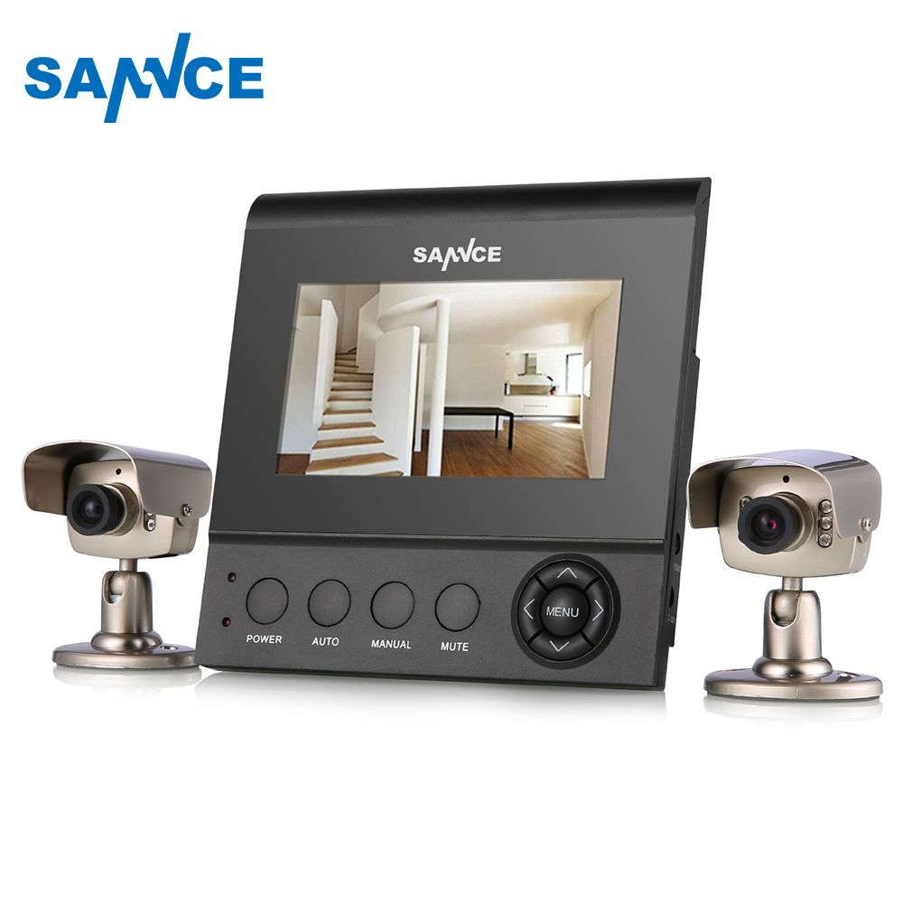 SANNCE 2CH Family CCTV KIT 4.3 Inch Color Monitor Analog CCTV Security System video Surveillance Kit with Night Vision
