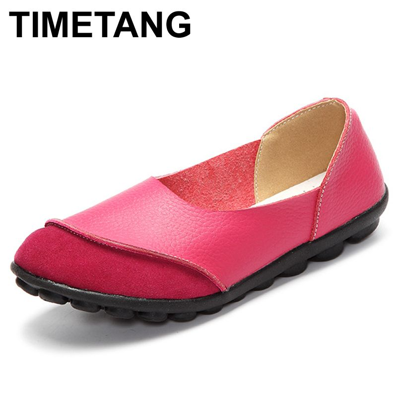 TIMETANG Spring Womens Ballet Flats Loafers Soft Leather Flat Women's Shoes Slip on Genuine Leather Ballerines Femme Chaussures