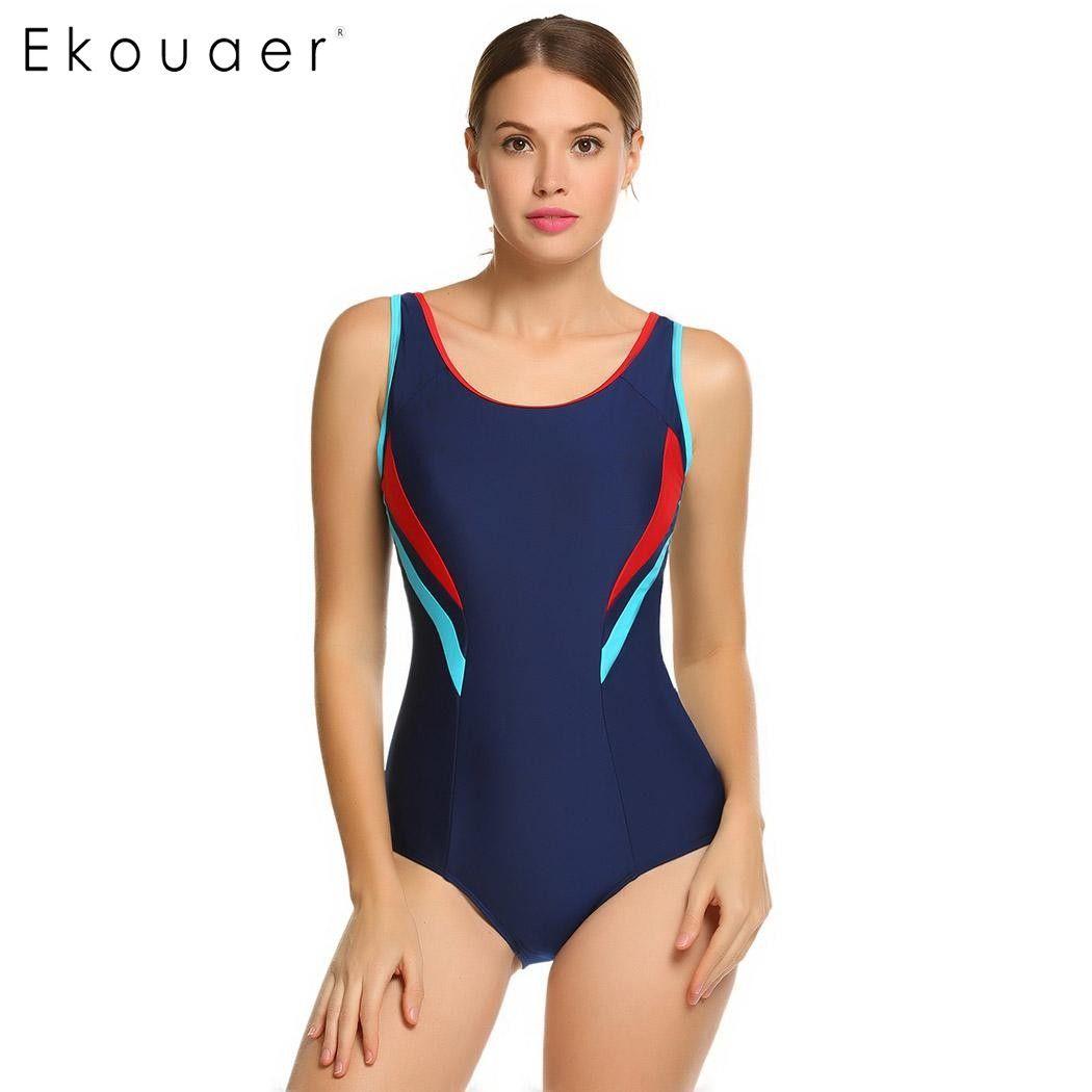 Ekouaer 2017 Einteiligen Badeanzug Bademode Frauen Sport Backless Bodys Frauen Badeanzüge Kontrast Farbe Patchwork Badeanzüge