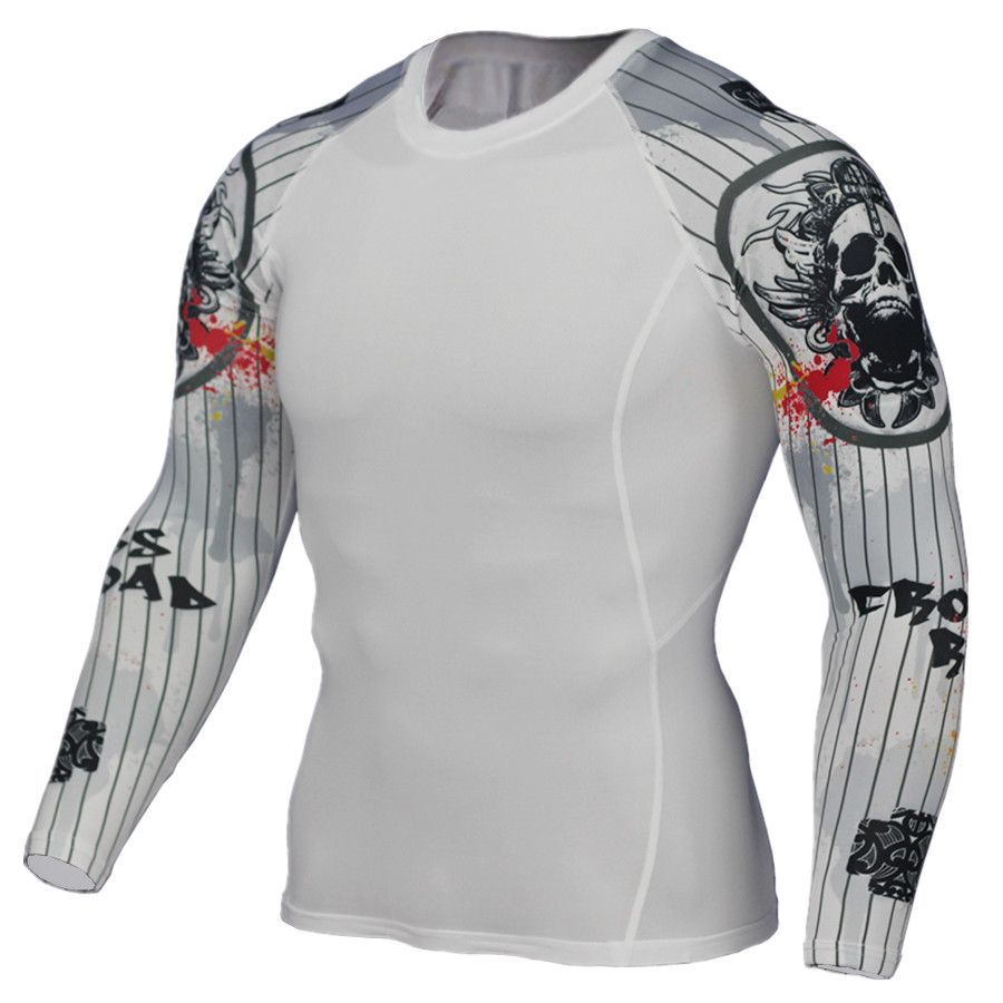 Men's Long Sleeve Round Tie Tight Fitness Gym Suit Outdoor Running Sport Suit Yoga Exercise Training Bikes Cycling Sportswear